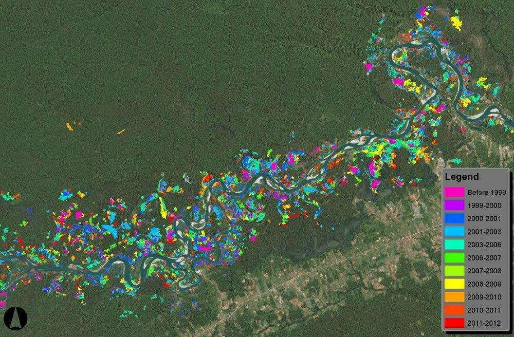 ouro, imagem de mapa_satelite_peru