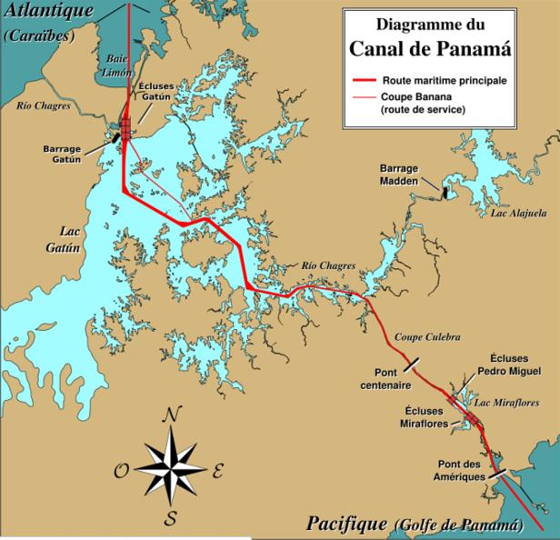 Canal do Panamá, imagem de mapa do canal do Panamá