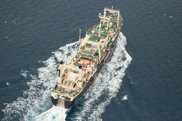 O navio japonês Nisshin Maru, em imagem aérea feita pelo braço australiano da ONG Sea Shepherd (Foto: Tim Watters/Sea Shepherd/AFP)