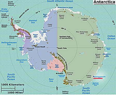 Quebra-gelo, imagem de mapa da baía onde estão os navios presos no gelo antártica