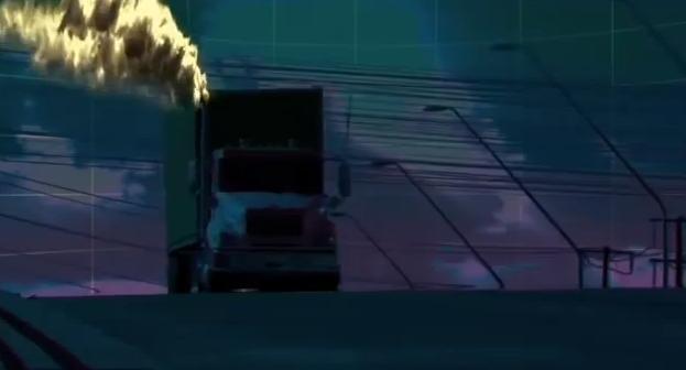 Cena de um caminhão emitindo dióxido de carbon