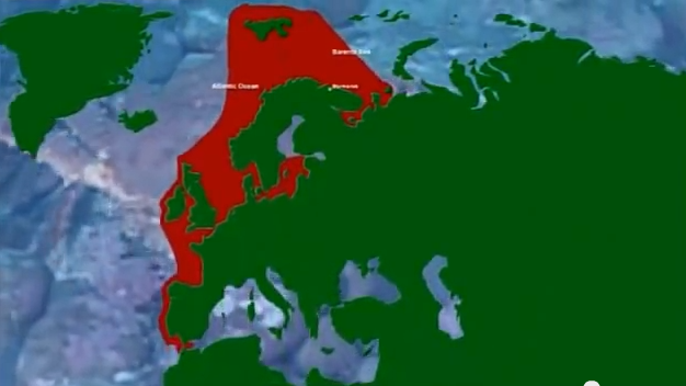 Mapa dos países do norte onde o carnguejo de Stalin se estabeleceu