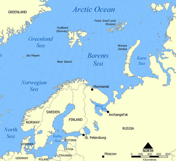 Mapa do mar de Barents.