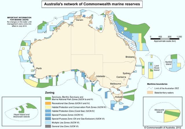Austrália e as reservas marinhas, Mapa das áreas marinhas protegidas da Austrália/a