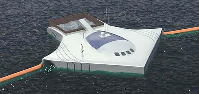 Espécie de barco para limpar os oceanos do plastico
