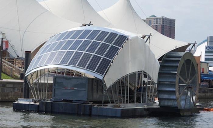 imagem de barco com água e sol movem embarcação