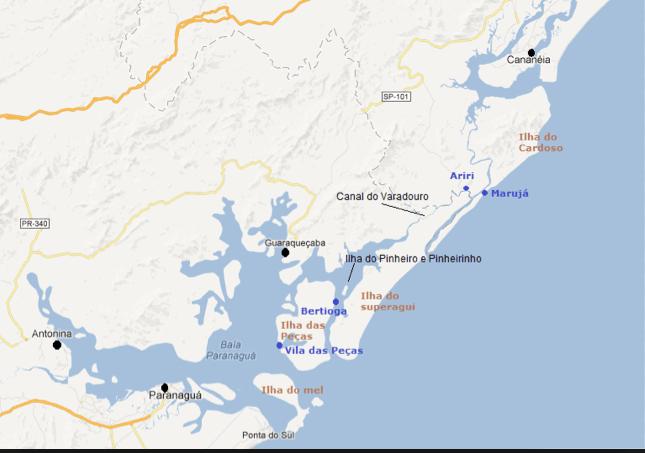 imagem de mapa do Parque Nacional do Superagui, Paraná