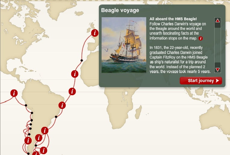 A circunavegação de Darwin, mapa com a A circunavegação de Darwin