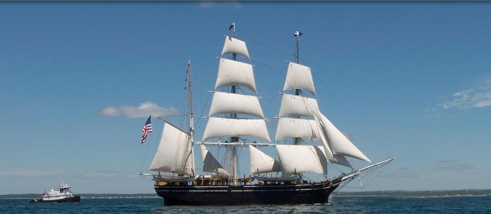 Baleeiro de 173 anos, imagem do navio baleeiro Charles w. morgan