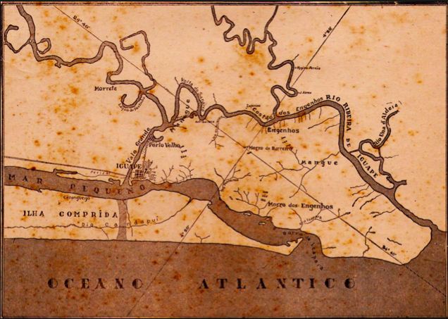 Mapa de Iguape, o rio Ribeira e o canal do Valo Grande.