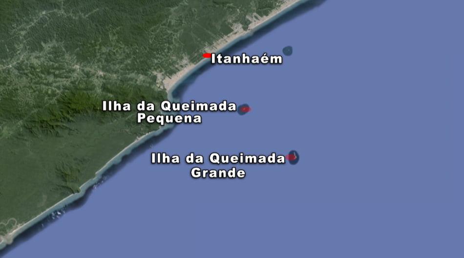 ilhas da Queimada Pequena e Queimada Grande, mapa Arie ilhas da Queimada Pequena e Queimada Grande