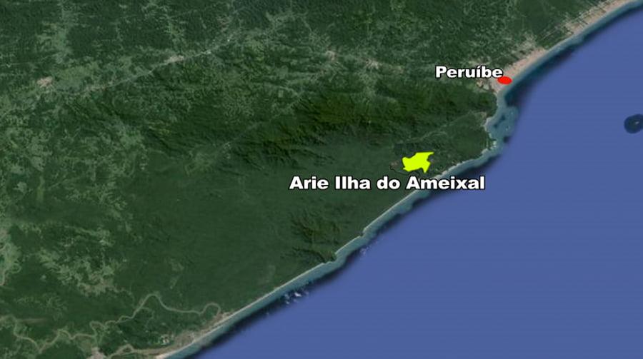 Arie Ilha do Ameixal e Mosaico Juréia- Itatins, imagem de mapa da arie- ilha do ameixal-