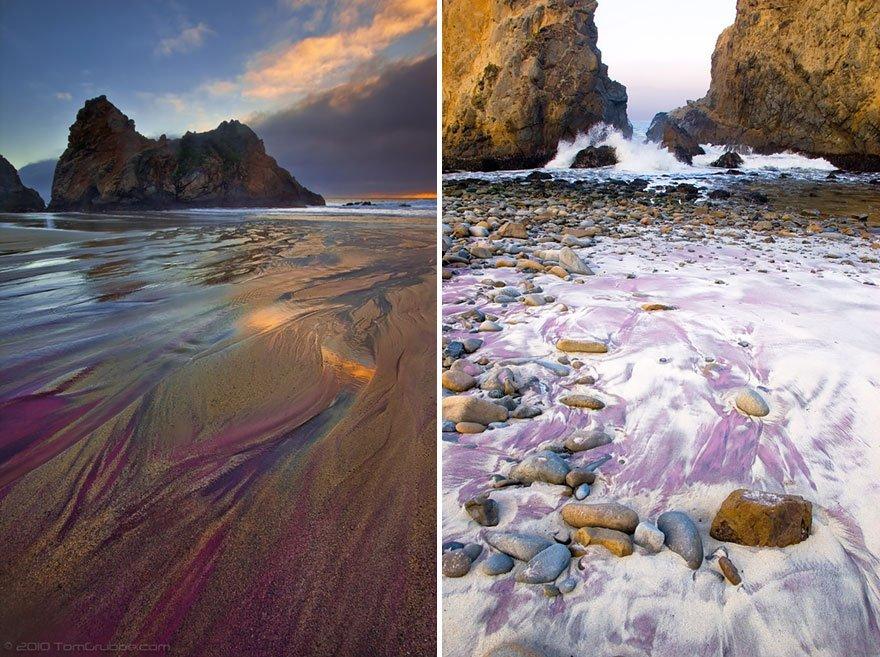 As praias mais diferentes do mundo, imagem de praia na california purple