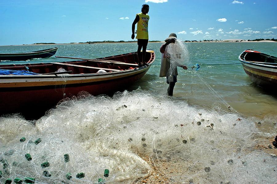 Recursos marinhos vivos: pesca, imagem de pescador com rede