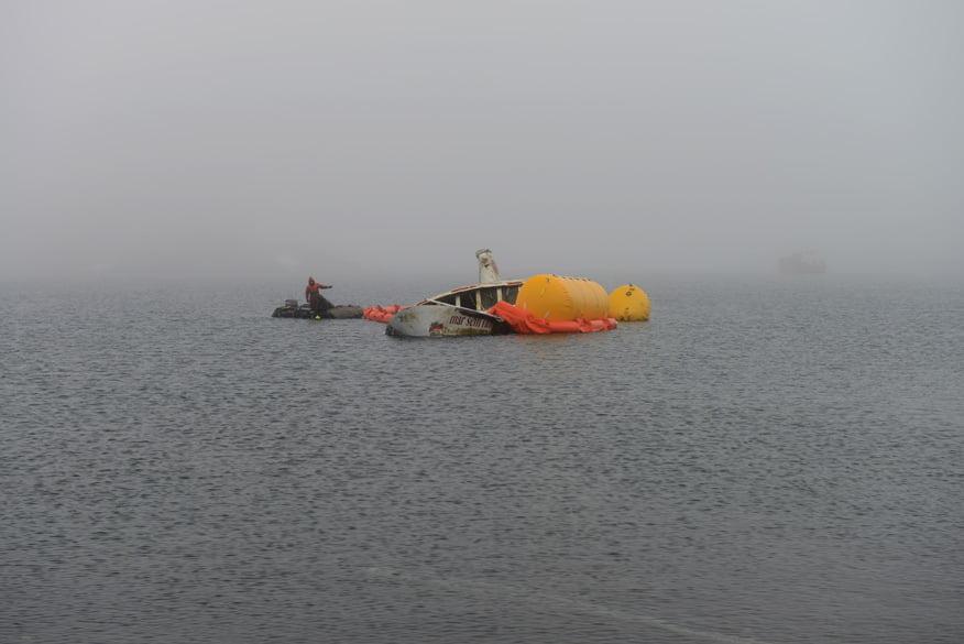 A Saga do Mar Sem Fim, de João Lara Mesquita, de João Lara Mesquita, imagem barco mar sem fim saindo da água antartica-