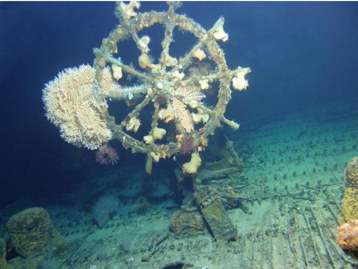Navio encontrado, timão de navio naufragado
