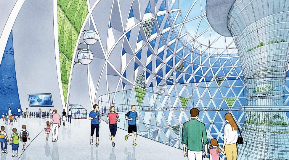 Cidade sustentável no fundo do mar, desenho do interior de Cidade sustentável no fundo do mar