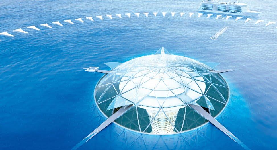 Cidade sustentável no fundo do mar, imagem de visão de cima Cidade sustentável no fundo do mar
