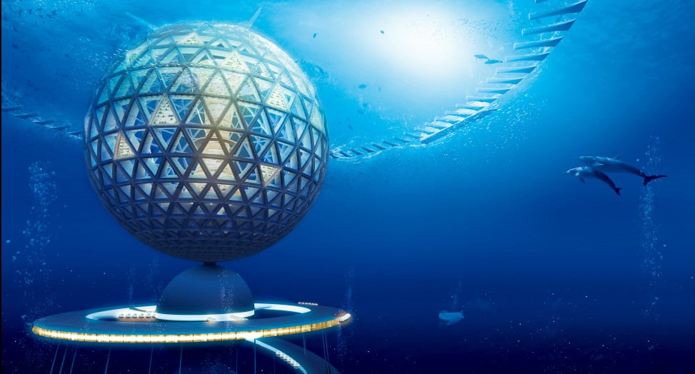 Cidade sustentável no fundo do mar, visão ilustrada de Cidade sustentável no fundo do mar