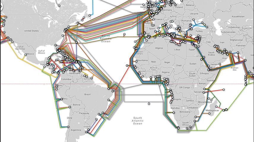 abos submarinos da Internet, imagem de mapa dos cabos submarinos da Internet