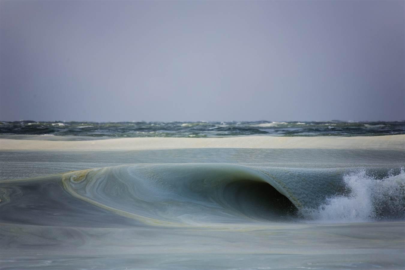 ondas congeladas nos EUA, imagem de ondas congeladas