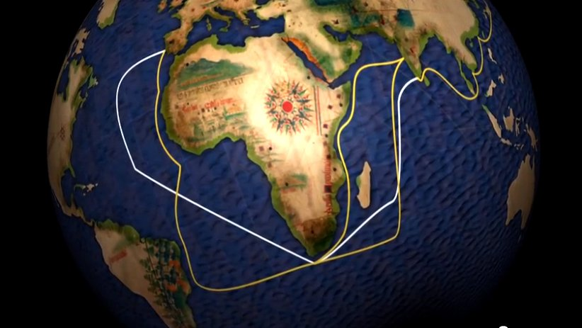 O mar sem fim é portuguez..., imagem de mapa mostrando a carreira-das-indias-