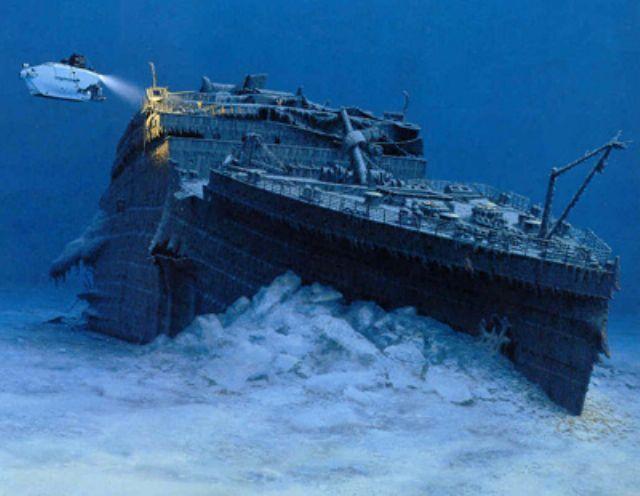 Titanic nos bastidores, imagem de destroços do titanic
