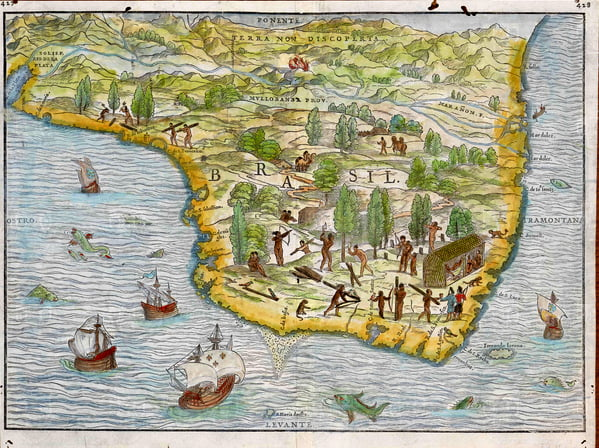 O mar sem fim é portuguez..., imagem de mapa-do-brasil antigo