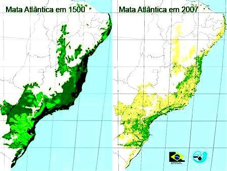 O mar sem fim é portuguez..., imagem de mapa do Brasil mostrando onde havia mata-atlantica