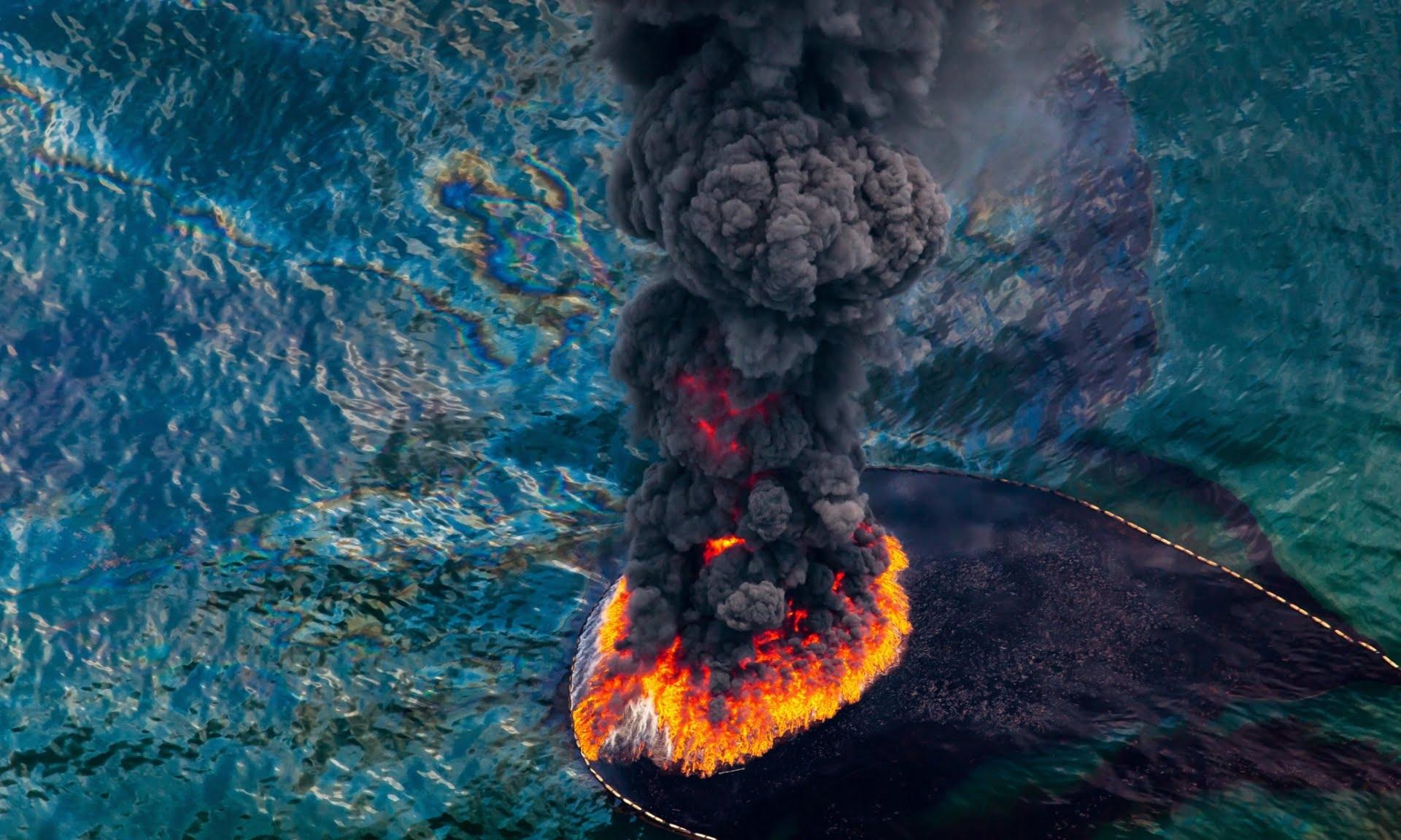 Superpopulação e super consumismo, nossa triste realidade, imagem de oceano em chamas