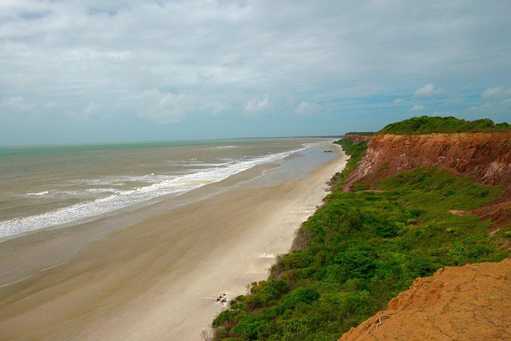 ARIE e APA do Mamanguape, imagem de . Falésias, mata atlântica, e praia do Oiteiro