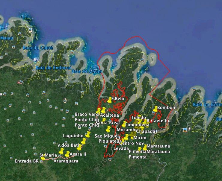 Bilica, coordenador do polo de Limondeua, imagem de mapa-resex-gurupi-piriá