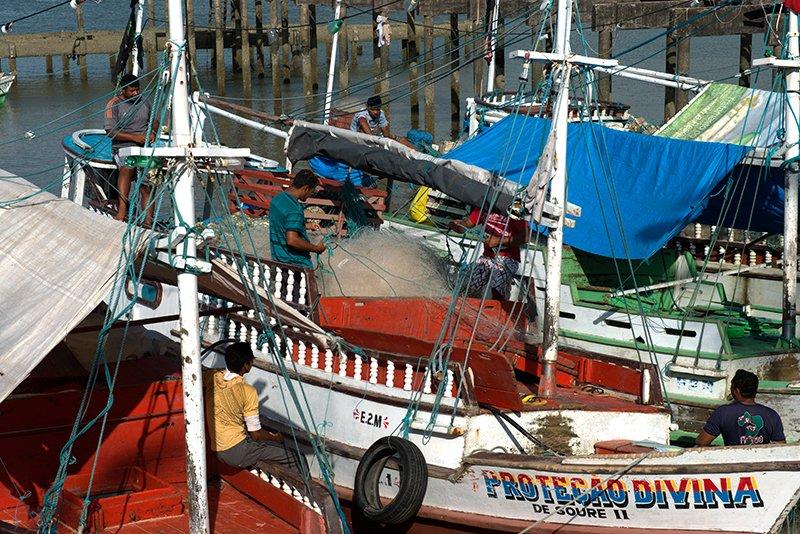 Andrei Cardozo, chefe da UC, imagem de barcos-de-pesca na resex soure