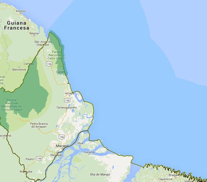 mapa- do Parque Nacional do Cabo Orange, mapa-