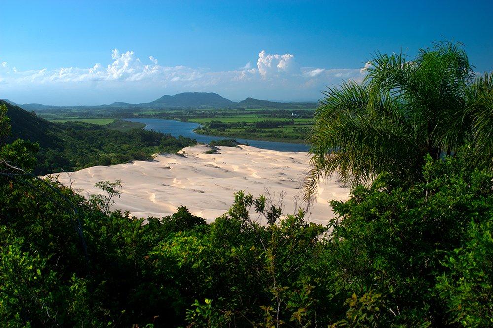 Colapso dos rios brasileiros,imagem do rio ararangua, SC