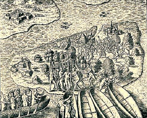 Ilhabela e os royalties do pré-sal, ulustracao de canoas indígenas livro de hans staden