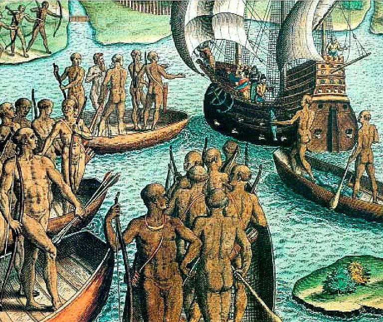 Ilhabela e os royalties do pré-sal, ilustração de encontro de índios com europeus a bordo