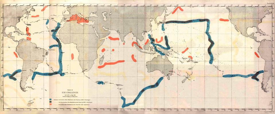 oceanos e os rejeitos de minas, imagem de mapa da viagem do challenger