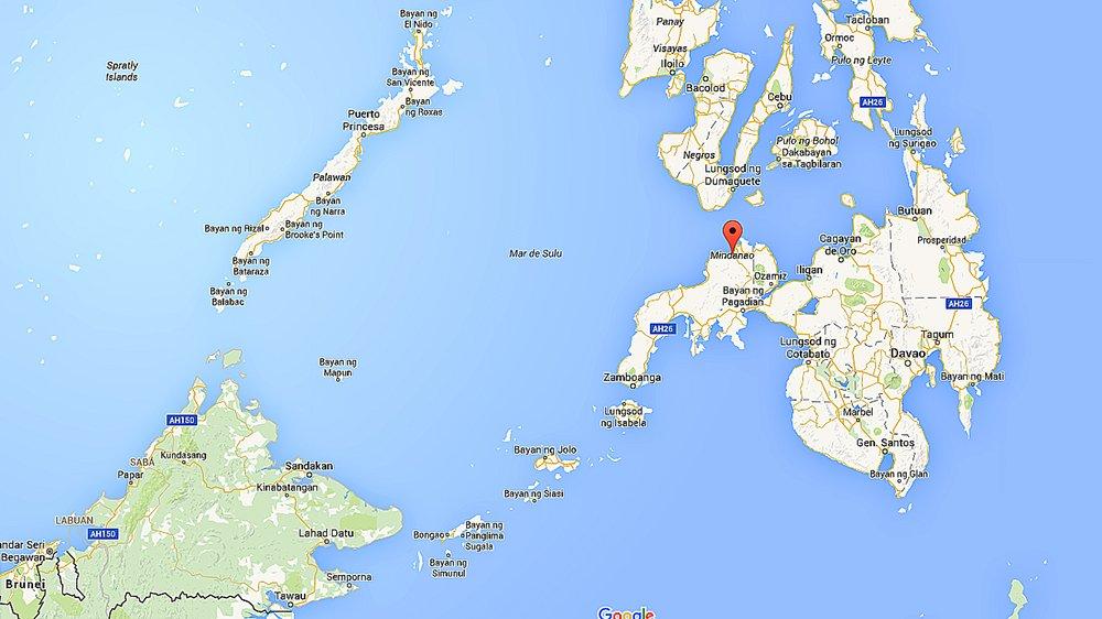 morte misteriosa a bordo, mapa da ilha indonésia de Mindanao