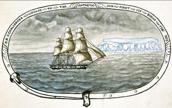 oceanos e os rejeitos de minas, desenho do navio Challenger-www-wiliamreesecompany-com