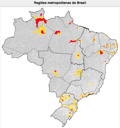 Eventos extremos: litoral e economia,mapa das regiões metropolitanas do Brasil