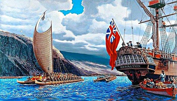 Surpreendente história do surf, ilustração do navio Resolution e canoas havaianas