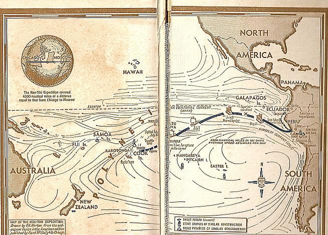 Surpreendente história do surf, mapa da expedição Kon Tiki