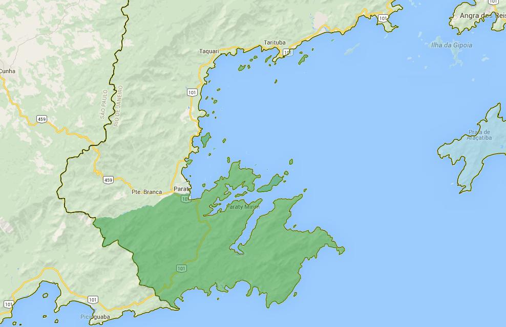 Costa brasileira, os dez maiores absurdos, mapa da apa de cairuçu