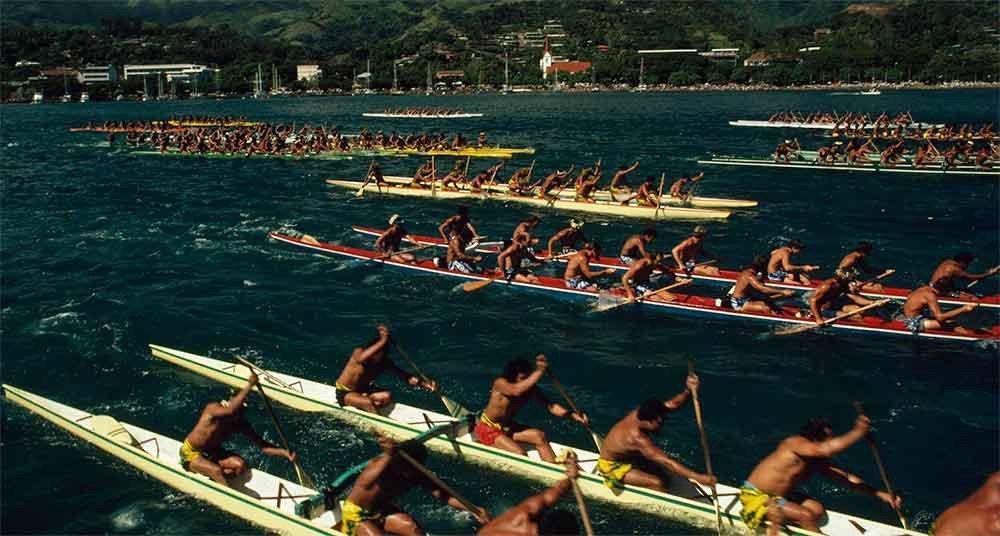 Fotos incríveis no mar, imagem de corrida de canoas