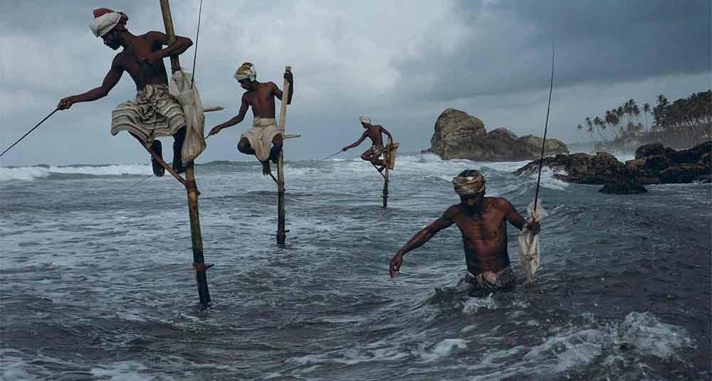 Fotos incríveis no mar, imagem de pescadores trepados em paus fincados nágua