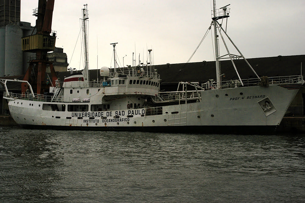 Navio Prof W Besnard, afundando nossa história, imagem do navio Prof Besnard no porto de Santos
