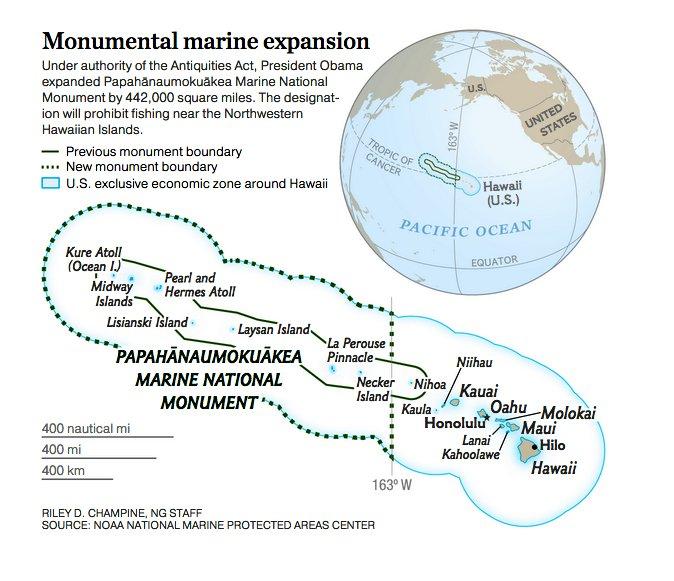 imagem de mapa mostrandoa maior reserva marinha da Terra: Papahanaumokuakea