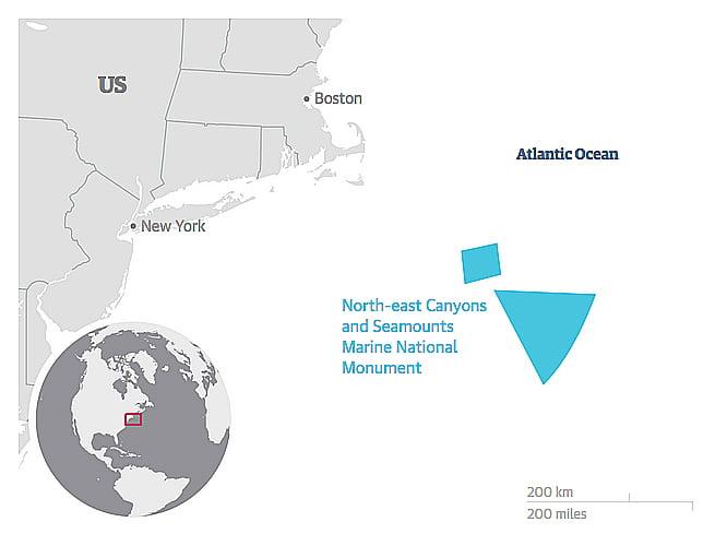 Obama cria área protegida no Atlântico, mapa da área marinha protegida por Obama