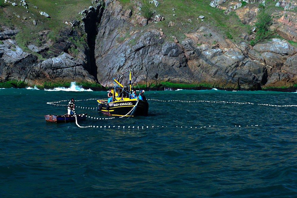Subsídios à pesca no Brasil do PT: insustentáveis, imagem de pesqueiro com rede no mar